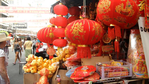 Customer chooses lanterns ahead of the Chinese Lunar New Year celebrations in Ba Footage