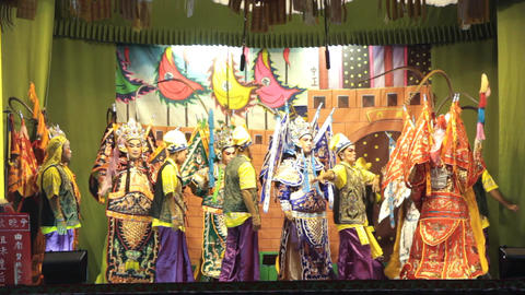 Chinese Opera Performers Performing During The Annual Vegetarian Festival Live Action