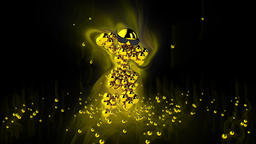 Golden Dancing Character surrounded by colorful lights, against black Animation