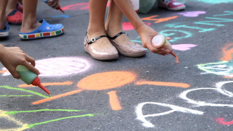 Colored Sand Drawing On Street Footage
