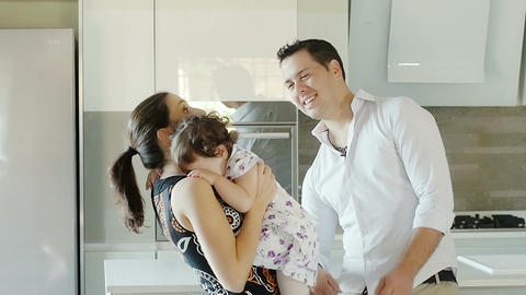 beautiful family with child, little girl Footage