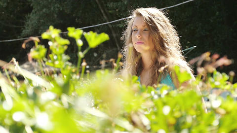 beautiful curly young woman in the countryside Footage