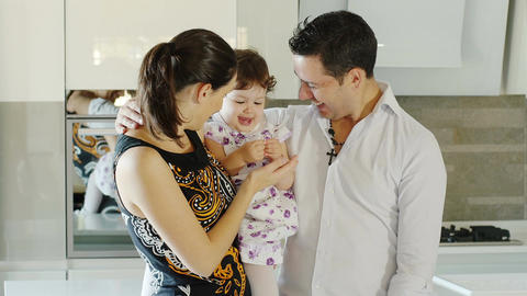 lovely family with little girl Footage