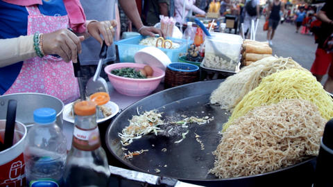 Merchant Preparing Pad Thai For Customer At Khao San Road Footage