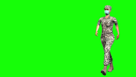 882 HD OCCUPATION of WOMAN 3D animation army WOMAN walks and salutes Animation