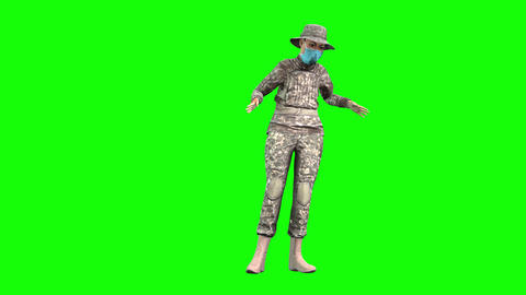 883 4K NEW OCCUPATION for WOMAN 3D animated Woman soldier woman walks and talks Animation
