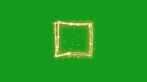 Glowing rectangle shape motion graphics with green screen background Animation