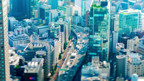 A timelapse of miniature highway at the urban city in Tokyo tiltshift zoom Live Action