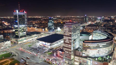 Wide View Time Lapse of the Modern Architecture Downtown City at Night Warszawa Live Action