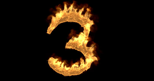 Burning number three on a black background Animation