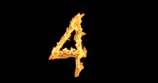 Burning number four on a transparent background plus alpha channel Animation