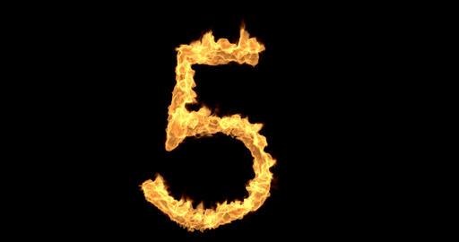 Burning number five on a transparent background plus alpha channel Animation