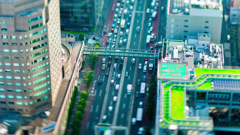 A timelapse of miniature highway at the urban city in Tokyo tiltshift tilting Live Action