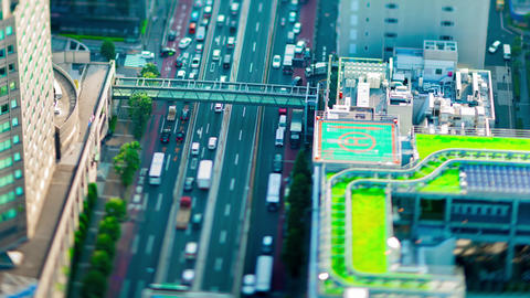 A timelapse of miniature highway at the urban city in Tokyo tiltshift panning Live Action