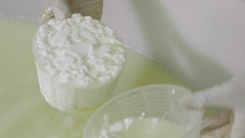 Italian cheese factory: dairy factory producing stracchino, ricotta, mozzarella Live Action