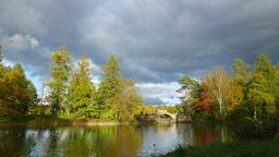 Vivid green colours at early autumn colours, landscaped garden lake stone bridge Live Action