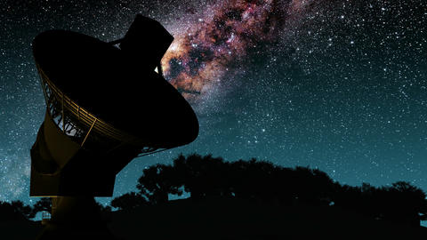 Milky Way Galaxy Night Timelapse Passes Giant Satellite Dish. Elements of this i Animation