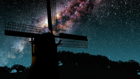 old windmill and Milky Way stars at night Animation