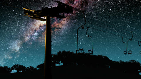 ski resort and Milky Way stars at night Stock Video Footage