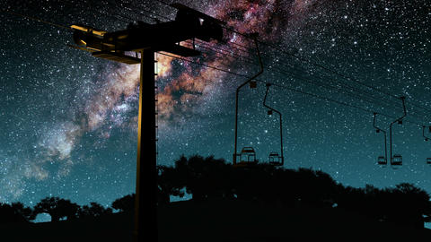 ski resort and Milky Way stars at night Animation