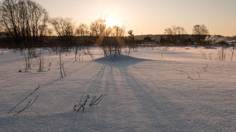 Clean snow in the light of sunset. TimeLapse, Russia Footage