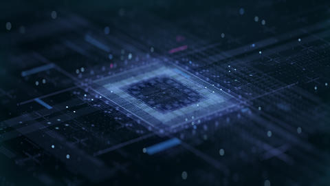 High-Tech AI in Electronics Microprocessor Pcb Computer Technological Cyberspace Live Action