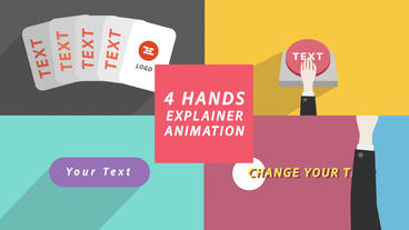 4 Hand Explainer Infographics, Logo Reveal, Transition [AE template] After Effectsテンプレート