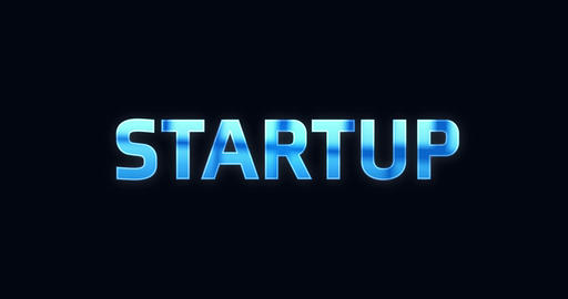 Startup. Electric lightning word. Text Animation Animation