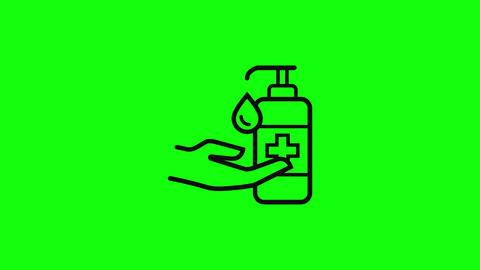 Transparent hand gel sanitizer gel alcohol gel hand liquid soap alcohol liquid soap hand icon Animation