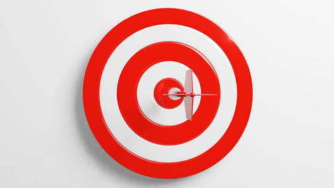 Red dart arrow hits target.Isolated on white background Animation