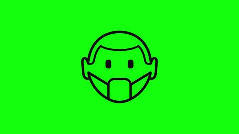 Transparent mask wearing face wearing man flat mask coronavirus face coronavirus men coronavirus Animation