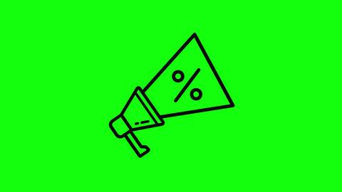 discount percentage megaphone percentage icon percentage promotion megaphone promotion icon Animation