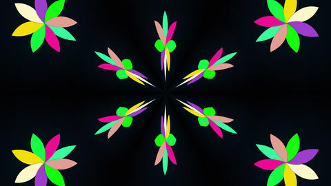 Kaleidoscope converts colors into a flower image, 3D rendering. Merging color Animation