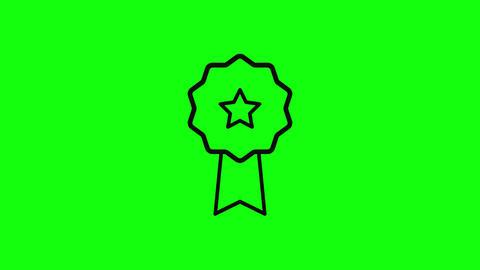 black medal ribbon prize flat ribbon award ribbon medal star prize star award star medal icon prize Animation