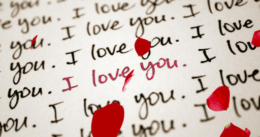 red glitter sparkle i love you word write on old vintage paper with red rose petals flowing, Live Action