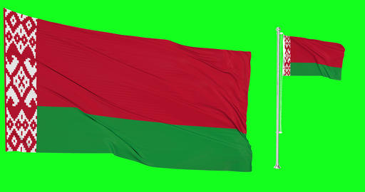 Two flags waving Belarus waving belarusian waving flagpole national Belarus national belarusian Animation