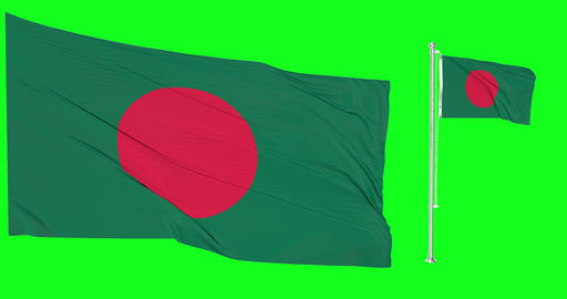 Two flags waving Bangladesh waving bangladeshi waving flagpole national Bangladesh national Animation