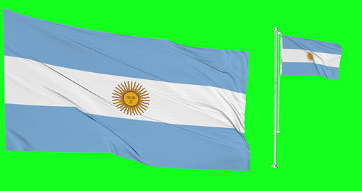 Two flags waving Argentina waving argentinian waving flagpole Argentina national argentinian Animation