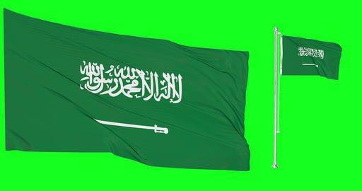 Two flags waving Saudi Arabia waving arab waving flagpole national Saudi Arabia national aarab Animation