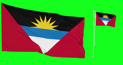 Two flags waving Antigua and Barbuda waving island waving flagpole national Antigua Barbuda national Animation
