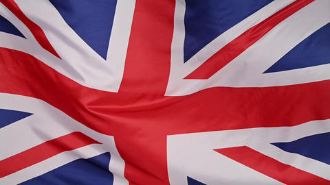 Background of UK flag waving in the wind Live Action
