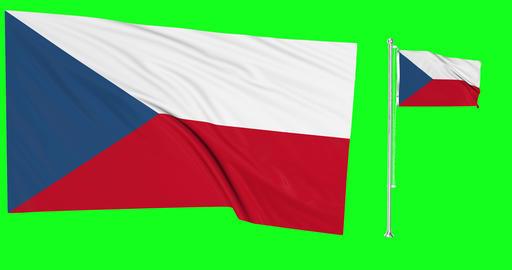 Two Czech Republic green screen flags green screen waving green screen Czech Republic czechia Animation