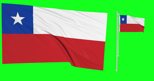 Two flags waving Chile waving chilean waving flagpole national Chile national chilean national flags Animation