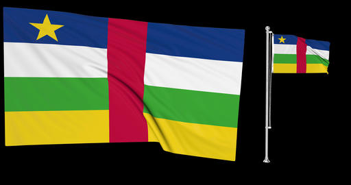 Two flags waving Central African Republic waving sango waving flagpole national Central African Animation