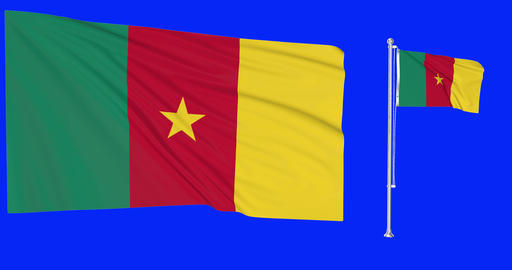 Two flags waving Cameroon waving cameroonian waving flagpole national Cameroon national cameroonian Animation