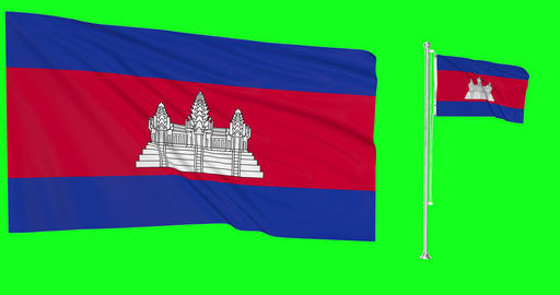 two flags waving Cambodia waving cambodian waving flagpole national Cambodia national cambodian Animation