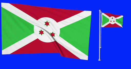 Two flags waving Burundi waving burundian waving flagpole national Burundi national burundian Animation