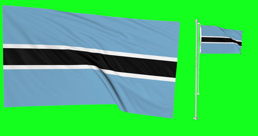 Two flags waving Botswana waving botswanan waving flagpole national Botswana national botswanan Animation