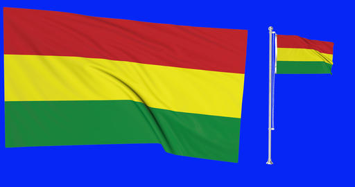 Two flags waving Bolivia waving bolivian waving flagpole national Bolivia national bolivian national Animation