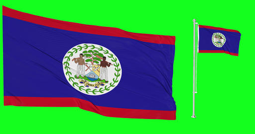 Two flags waving Belize waving greek waving flagpole national belizean national greek national flag Animation